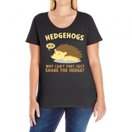 Why Can't They Just Share The Hedge Ladies Curvy T-shirt Designed By Vanode Art
