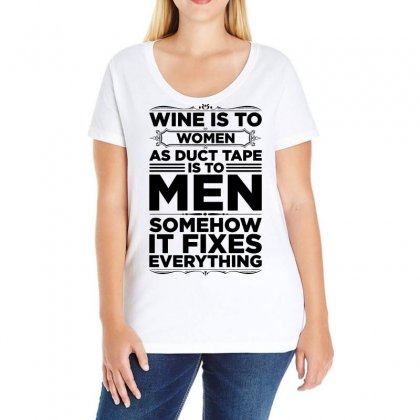 Wine Is To Women As Duct Tape Is To Men Ladies Curvy T-shirt Designed By Vanode Art