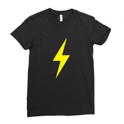 Lightning Bolt Icon Yellow Design Ladies Fitted T-shirt Designed By Noir Est Conception