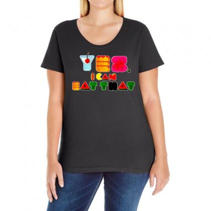 Yes I Can Eat That Ladies Curvy T-shirt Designed By Vanode Art