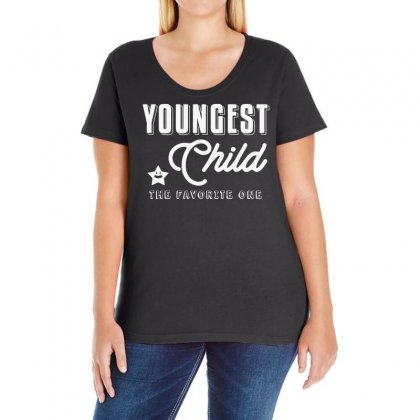 Youngest Child The Favorite One   Funny Sibling Ladies Curvy T-shirt Designed By Vanode Art