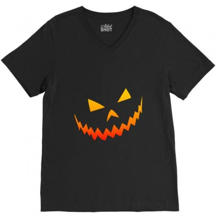 Halloween Smile V-neck Tee Designed By Bertaria