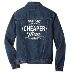 Music Is Cheaper Than Therapy Men Denim Jacket | Artistshot