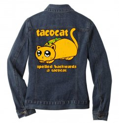 funny tacocat Ladies Denim Jacket | Artistshot