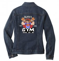 funny gym sloth the goonies fitness t shirt vectorized Ladies Denim Jacket | Artistshot