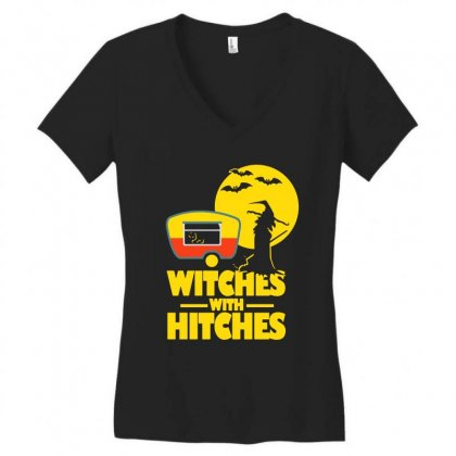 Witches With Hitches Halloween Camping Women's V-neck T-shirt Designed By Bertaria