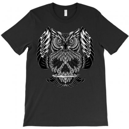 Owl Skull Ornate T-shirt Designed By Quilimo