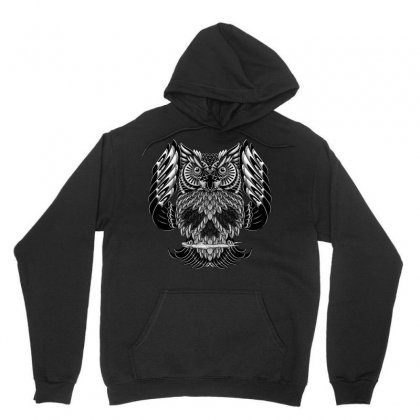 Owl Skull Ornate Unisex Hoodie Designed By Quilimo