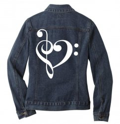 music heart rock baseball Ladies Denim Jacket | Artistshot