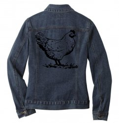 funny chiken Ladies Denim Jacket | Artistshot