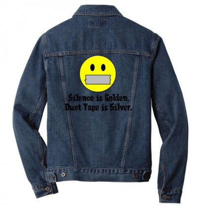Silence Is Golden Duct Tape Is Silver Men Denim Jacket Designed By Gematees