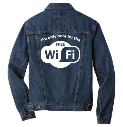 Here For The Free Wifi Men Denim Jacket Designed By Gematees