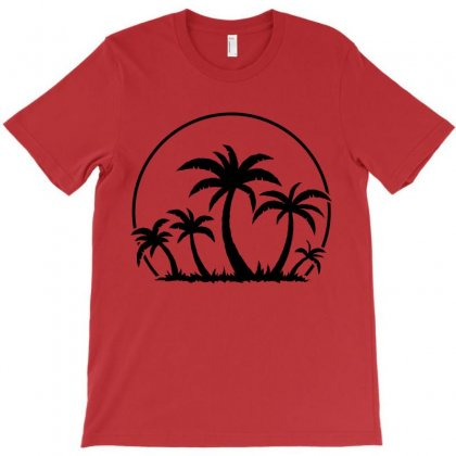 Palm Trees And Sunset In Black T-shirt Designed By Fizzgig