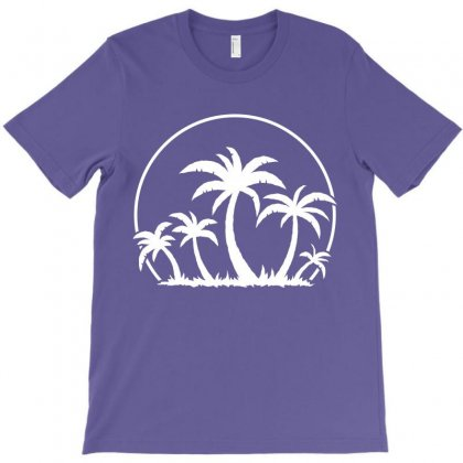 Palm Trees And Sunset In White T-shirt Designed By Fizzgig