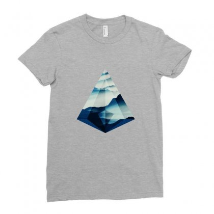 Sacred Mountains Geometry Ladies Fitted T-shirt Designed By Seniha