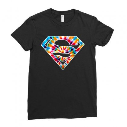 Tie Dye Superman Ladies Fitted T-shirt Designed By Sengul
