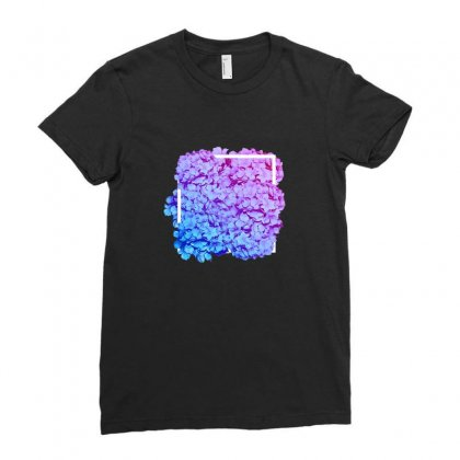 Flowers Pink To Blue Ladies Fitted T-shirt Designed By Seniha