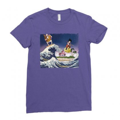 Goku Kame House Surfing Ladies Fitted T-shirt Designed By Nurbetulk