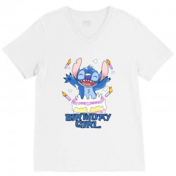 stitch birthday girl V-Neck Tee | Artistshot