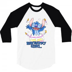 stitch birthday girl 3/4 Sleeve Shirt | Artistshot