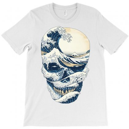 The Great Wave Off Skull T-shirt Designed By Quilimo