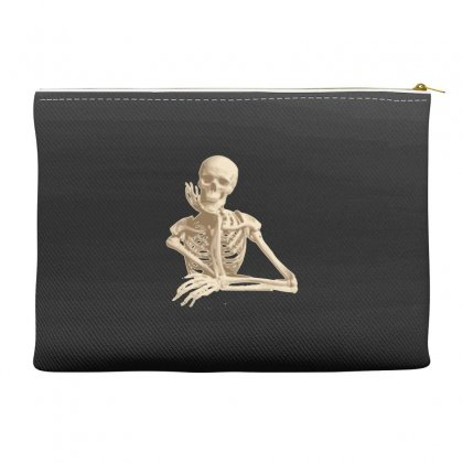 Skeleton Smiling Sitting Cartoon Accessory Pouches Designed By Salmanaz