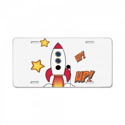 rocket cartoon License Plate | Artistshot