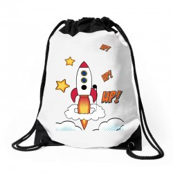 rocket cartoon Drawstring Bags | Artistshot