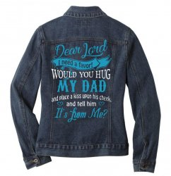 hug my dad Ladies Denim Jacket | Artistshot