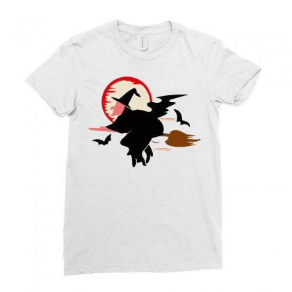 Bat Broom Broomstick Ladies Fitted T-shirt Designed By Salmanaz