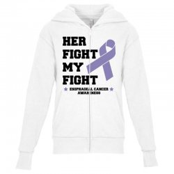 her fight my fight esophageal cancer for light Youth Zipper Hoodie | Artistshot
