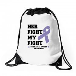 her fight my fight esophageal cancer for light Drawstring Bags | Artistshot