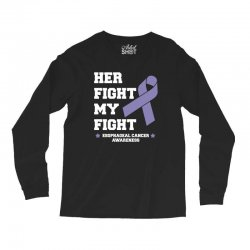 her fight my fight esophageal cancer for dark Long Sleeve Shirts | Artistshot