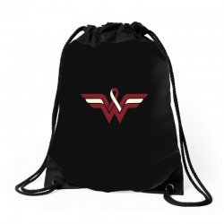 head and neck cancer wonder woman Drawstring Bags | Artistshot