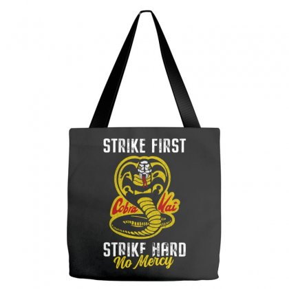 Strike First Strike Hard No Mercy Tote Bags Designed By Toweroflandrose
