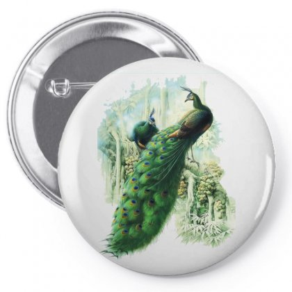 Painting Work Of Art Peafowl Peacock Pin-back Button Designed By Salmanaz