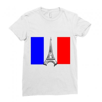 Eiffel Tower France Flag Tower Ladies Fitted T-shirt Designed By Salmanaz