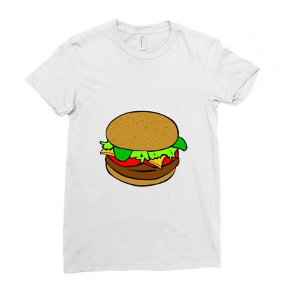 Hamburger Cheeseburger Fast Food Ladies Fitted T-shirt Designed By Salmanaz