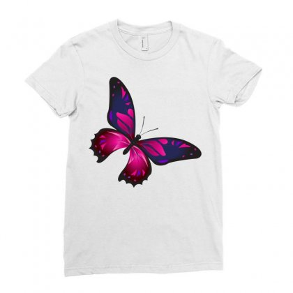 Butterfly Colorful Pink Blue Ladies Fitted T-shirt Designed By Salmanaz
