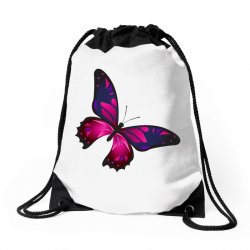 butterfly colorful pink blue Drawstring Bags | Artistshot