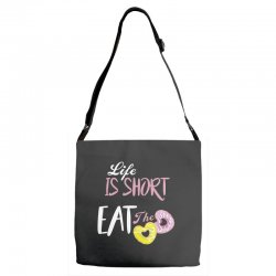 life is short eat the donut Adjustable Strap Totes | Artistshot