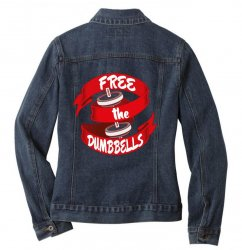 free the dumbbells Ladies Denim Jacket | Artistshot
