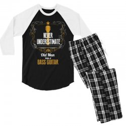 never underestimate an old man with a bass guitar Men's 3/4 Sleeve Pajama Set | Artistshot