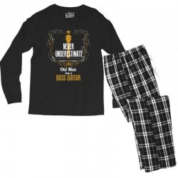 never underestimate an old man with a bass guitar Men's Long Sleeve Pajama Set | Artistshot