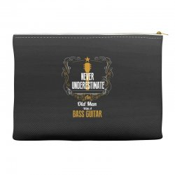 never underestimate an old man with a bass guitar Accessory Pouches | Artistshot