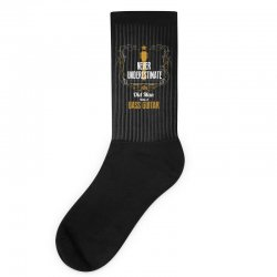 never underestimate an old man with a bass guitar Socks | Artistshot