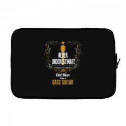 never underestimate an old man with a bass guitar Laptop sleeve | Artistshot