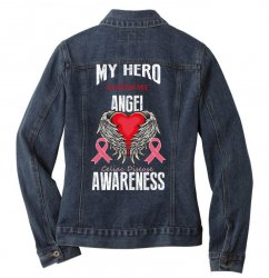 my hero is now my angel celiac disease awareness Ladies Denim Jacket | Artistshot