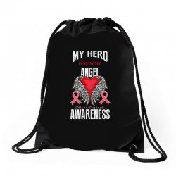 my hero is now my angel celiac disease awareness Drawstring Bags | Artistshot