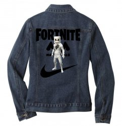fortnite   marshmello  just play it Ladies Denim Jacket | Artistshot